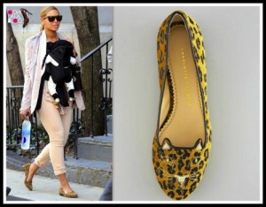 Beyonce' in Charlotte Olympia Leopard flatsPhoto: OohLaLablog.com