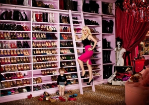 You're shoe closet may not look like Christina's, but it can be just as organized (well, excluding the ones the kid took off the shelves). Photo: theshoegirl.blogspot.com