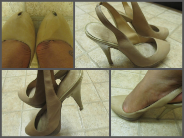 Shown - Aldo nude slingbacks worn by Darby