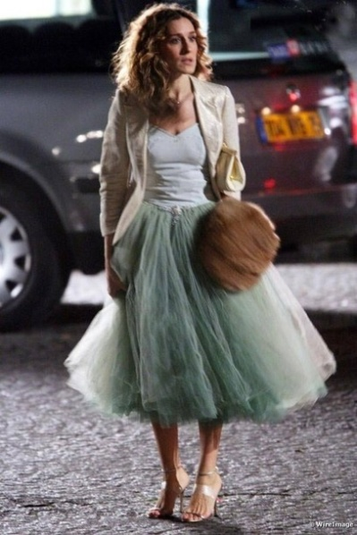Carrie from Sex and The City in a tulle skirt Photo via Sex and The City